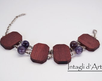 Handmade wooden bracelet with Purpleheart and Amethist
