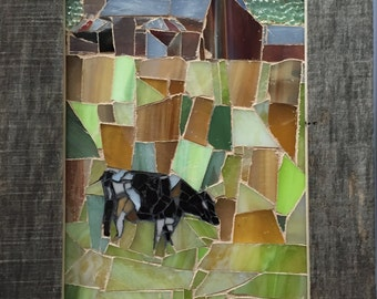 Cow in a Field Stained Glass Mosaic