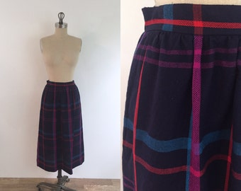 Vintage Colorful Plaid Skirt | small