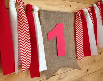 Wreath of cloth and jute, custom banner, letters or numbers, color choices, for party, birthday, wedding, baptism