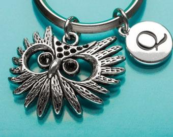 Owl Keychain, Owl Face Key Ring, Bird Charm, Initial Keychain, Personalized Keychain, Custom Keychain, Charm Keychain, 769