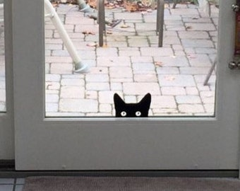 Peeking Cat Vinyl Decal / Sticker *Available in 24 Colors* peeping