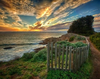 Mendocino Fences at Sunset