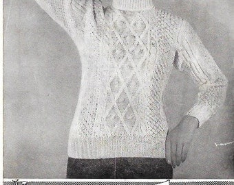 1940s 1950s 1960s Vintage Knitting Pattern - Womens Sweater/Jumper 36 inch chest- Instant Download