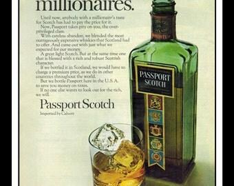 "Vintage Print Ad October 1968 : Passport Scotch Wall Art Decor 8.5"" x 11"" Advertisement"