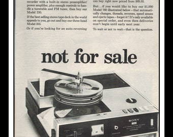 "Vintage Print Ad October 1968 : Sony Superscope Electronics ""Not for sale"" Wall Art Decor 8.5"" x 11"" Advertisement"