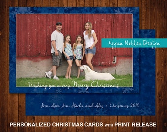Personalized Blue Snowflake Christmas Card with Photo