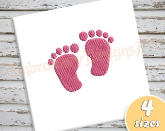 Baby Foot Print Mini Embroidery Design - 4 Sizes - Filled Stitch Machine Embroidery Design File
