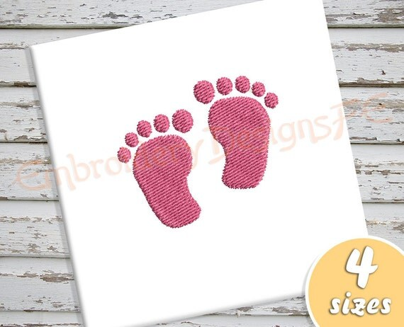 baby foot print mini embroidery design 4 sizes filled. Black Bedroom Furniture Sets. Home Design Ideas