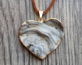 Chalcedony Heart Necklace