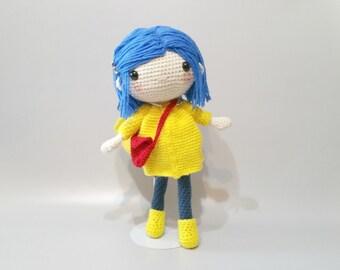 Coraline doll, Coraline inspired doll, coraline plush, coraline toy, crochet coraline