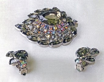 "Gray ""Topaz""/AB Rhinestone Juliana D&E Leaf Brooch/Earrings Set"