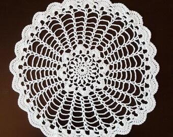 Vintage, Handmade ,Crochet Lace Doily,Crochet Lace Napkin, Lace Doily, Vintage Decor,Vintage doily, round shape, white, 220 mm, cotton