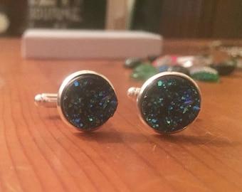 Cuff links titanium druzy quartz blue silver