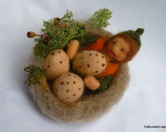 A Clutch of Speckled Eggs. Autumn El©f nurtures inhabitants of abandoned nest.  Unique Gift of Nature. Needle felted.OOAK.  7 cm across.