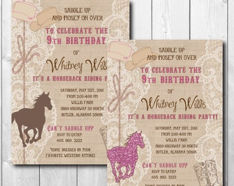 Western Birthday Invitation girl/printable/Digital file/Cowgirl Party Invitation, Pony, horseback, girl western/Wording can be changed