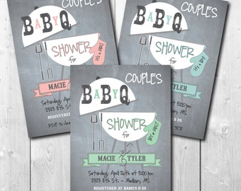 Couples Baby Q Shower Invitation printable, Couples Baby Shower Invitation/co-ed,boy, girl, bbq, cookout, grill/wording can be changed
