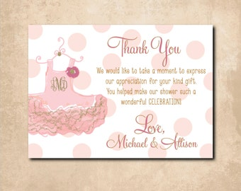 Tutu Thank you Note printable/Digital file/Baby Shower Note, monogram, gold and pink, baby shower, tutu excited, girl/Wording can be changed