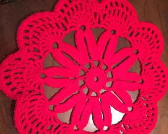 Red Crochet Table Topper Doilie
