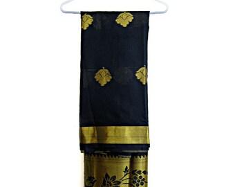 Indian Sari, Black Saree, India Clothing, Cotton Silk saree, golden border sari, Bollywood saree, sari blouse, sari fabric