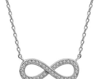 Rhinestone 925 sterling silver infinity necklace