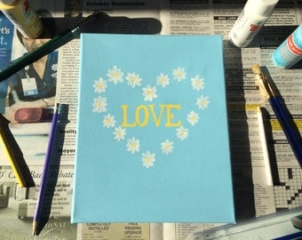 Daisy Heart - 8 x 10 inch Painted Canvas