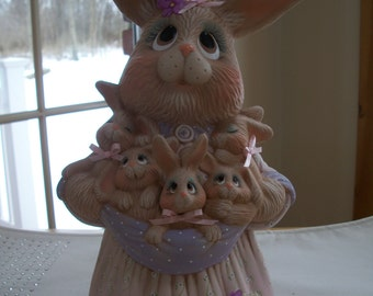 ceramic Easter Bunny Mama with baby bunnies