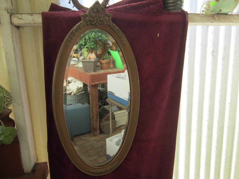 Victorian Framed Beveled Oval Mirror Vintage 1920's Wood