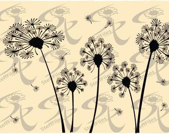 DANDELION Vector Flowers dandelion Digital image, graphical,eps,ai,png,SVG,DXF