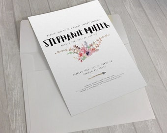 Tribal Flowers Invitation Design