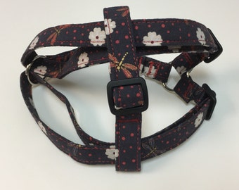 Adjustable Dragonfly and Flower Print Step-In Harness