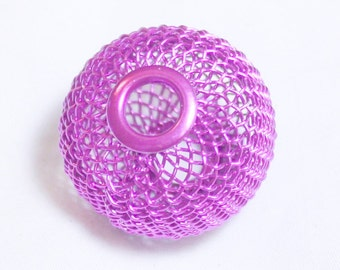 50* 20mm Purple Wire Mesh Beads Basketball Wives Large hole fits bracelet
