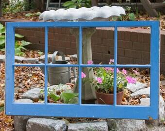Vintage 8 pane window frame, BLUE and BROWN distressed, eight pane window no glass panes, reclaimed barn wood window frame, farmhouse decor