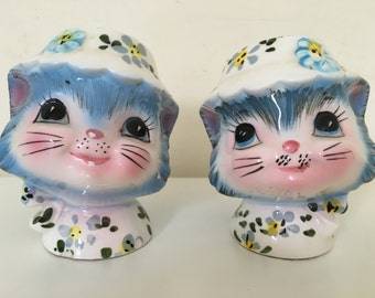 Vintage Mid Century Modern Miss Priss Salt Pepper Shakers Ceramic Hand Painted Made in Japan