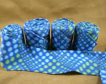 Polo Wraps For Horses, Blue Lime Green Polka Dots Print Fleece, Equine Leg Wraps, Fun Polo Wraps, Fun Print Polo Wraps,  Set of 4