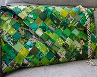 Candy Wrappers Messenger bag // Eco friendly clutch bag //Crossbody bag  - green