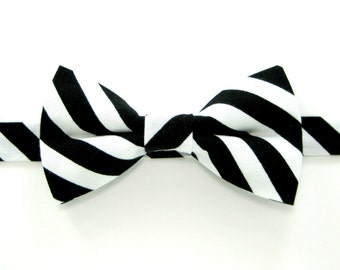 Black and white striped bow tie, Black and white bow Tie,Black white bowtie,Wedding bow tie for Men,Toddlers ,Boys