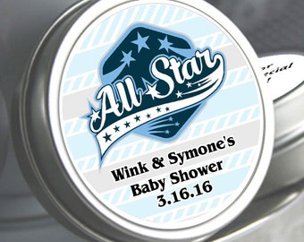 """12 Personalized All Star Baby Shower Mint Tins - Select the quantity you need below in the """"Pricing & Quantity"""" option tab"""
