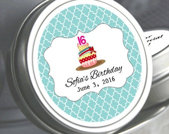 """12 Sweet 16 Cupcake Birthday Mint Tins   - Select the quantity you need below in the """"Pricing & Quantity"""" option tab"""