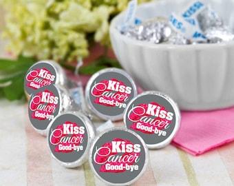 108 Custom Order Gray Kiss Cancer Goodbye Hershey Kiss Seals