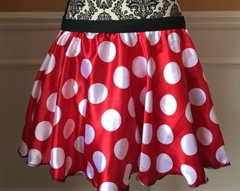 Red and White Polka Dot MOUSE inspired running skirt costume
