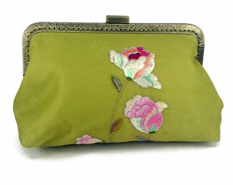 Silk Evening Bag, Light Chartreuse Green