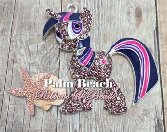 One (1) 50mm x 45mm TWILIGHT SPARKLE My Little Ponies Pony Rhinestone Pendant for Chunky Necklaces.