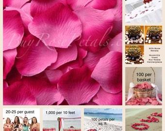 500 Berry Rose Petals -  Silk Rose Petals for Weddings