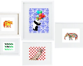 Animal Art Collection Prints (Set of 5) Animal Print Zoo Art Zoo Print Kids Art Nursery Art Bear Art Giraffe Art Zoo Art Panda Art Elephant