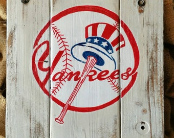 New York Yankees hand painted sign on reclaimed wood