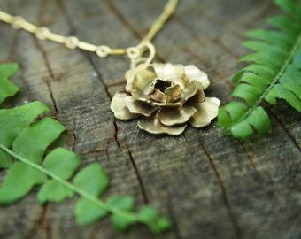 Handmade Peony Necklace - Brass - Flower pendant