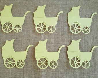 Baby Carriage Die Cut Set of 6, Baby Shower Carriage, Baby Girl, Baby Boy