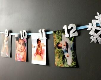 1-12 monthly photo banner -- first birthday photo banner -- winter wonderland themed photo banner