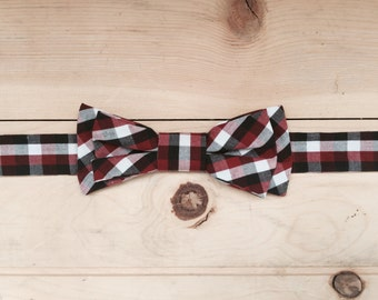 Hand Made Red/White/Black Plaid Bow Tie, Made From Reclaimed Cotton.